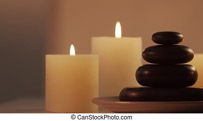 Oriental massage treatment composition. Spa procedures, meditation, wellbeing and aromatherapy concept.