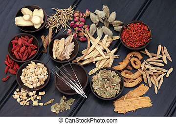 Acupuncture needles and chinese herbal medicine selection.