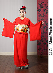 Oriental model shows sleeves on Japanese kimono - Large ...