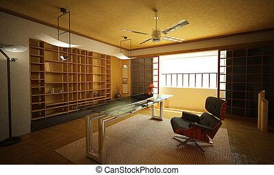 oriental, moderne, stylish., bureau, interior.