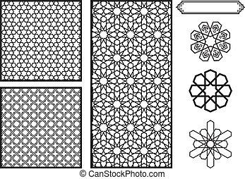 oriental moyen, motifs, /, islamique