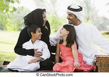 oriental moyen, parc, famille, séance