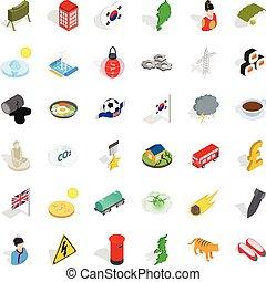 Oriental nation icons set, isometric style