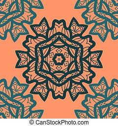 Oriental ornament pattern in orange color. Vector decorative background with stylized floral geometric ornament. Repeating geometric tiles based on indian mandala. Tibetian or Indian motives.