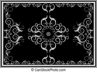 Decorative oriental ornaments for rug in dark background. Graphic