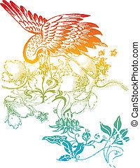 oriental, pájaro, ilustración, clásico