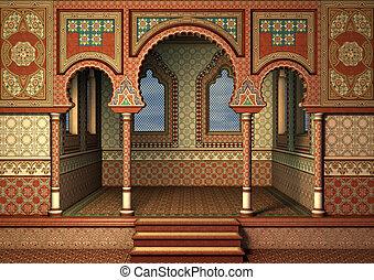 3D digital render of a fairytale oriental palace, blue sky in the windows