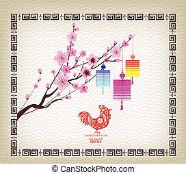 Oriental Paper Lantern, plum blossom. Chinese new year 2017