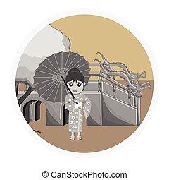 oriental, parapluie, geisha