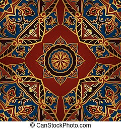 Oriental pattern on a red background.