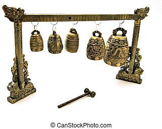 Oriental Prayer Bells - Bell Blur Intended - A group of five...