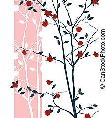 Oriental print design with cherry tree