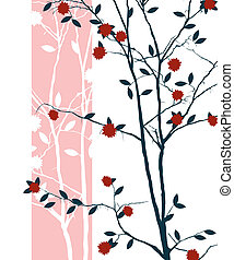 Oriental print design with cherry tree
