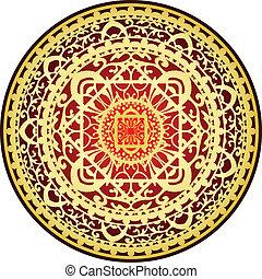 oriental red & gold rug - Vector illustration of oriental...