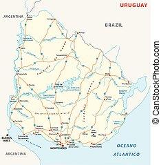 Oriental Republic of Uruguay road vector map