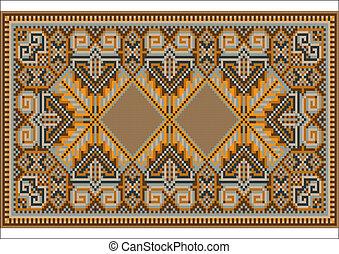 Oriental rug in warm orange brown n - Picture of old carpet...