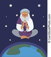 oriental sage at nirvana state vector cartoon - oriental...