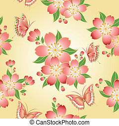 Oriental seamless pattern cherry blossom with butterfly