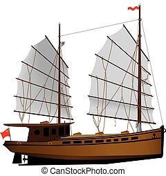 Oriental ship - Oriental sailing ship vector color ...