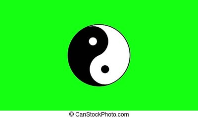 Traditional black and white sign of yin and yang turns slowly against green chromakey background computer generated imagery