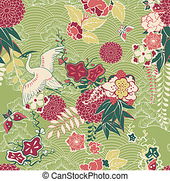 Oriental silk pattern with crane and flowers vector...