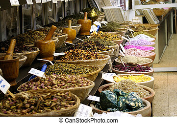 Oriental spices and herbs in the market