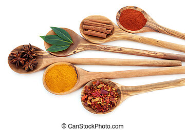 Oriental Spices - Turmeric, bay leaf herb, chili flakes, ...