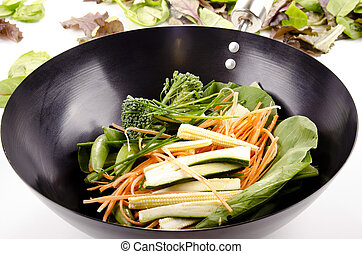 Oriental stir fry in a wok