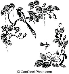 oriental style - Flowers and birds in the Oriental style. ...