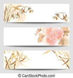 Watercolor vector banners in Oriental style. Wild Orchid, Hydrangea, flowers, stalk of bamboo painted in the traditional Japanese style