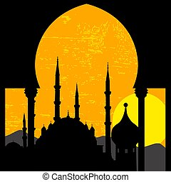 Grunge oriental sunset with mosque, vector illustration