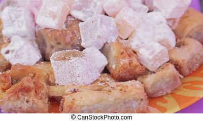 Spacing with various oriental sweets