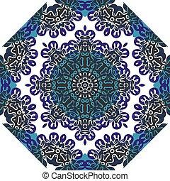 Oriental symmetrical round pattern. Indian art imitation.