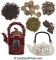 oriental, té, -, aislado