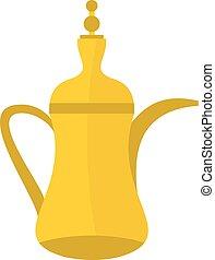 Oriental teapot icon, flat style