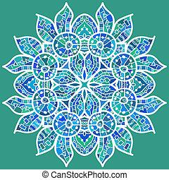oriental, tradicional, ornamento, motivo