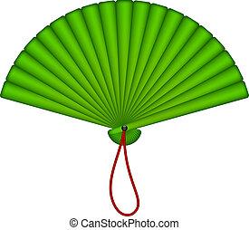 oriental, ventilador, verde