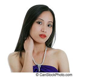 oriental woman diamond necklace