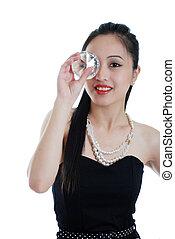 oriental woman holding big diamond