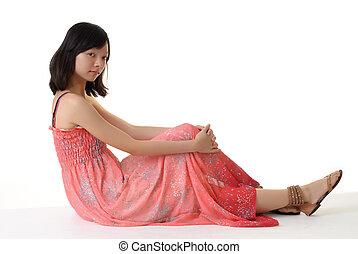 Oriental woman sit