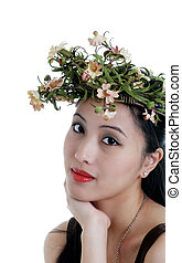 oriental woman with flower crown