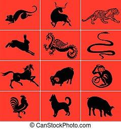 oriental, zodíaco, 12, animales, lunar