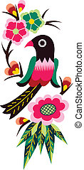 orientale, albero, uccello, cinese