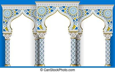 orientale, arco, di, il, mosaic., intagliato, architettura