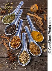 orientale, spezie, -, ingredienti cucinare