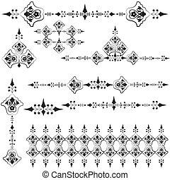 orientale, tre, disegno, ottomano, linea