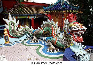 orientale, vecchio, tempio, tetto, drago