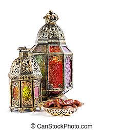 orientalische , feiertage, dekoration, licht, laterne, ramadan, kareem