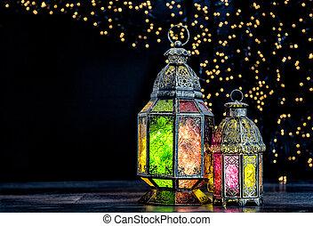 orientalische , licht, laterne, islamisch, feiertage, dekoration