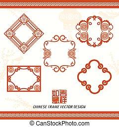 orientalisk, kinesiskt nytt år, vektor, design
